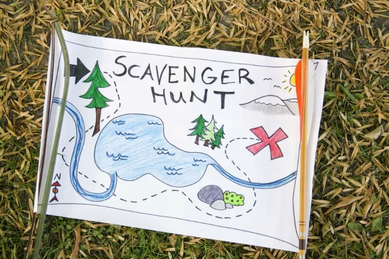 IMG: drawing of a scavenger hunt map