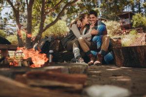 fall engagement party bonfire
