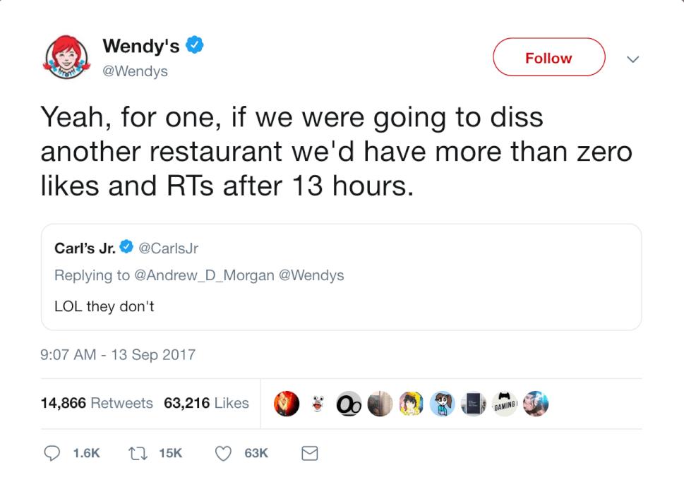 IMG: screenshot of a Wendy's tweet